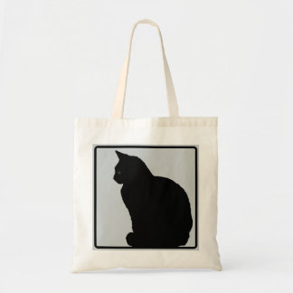 Cinza do gato preto sacola tote budget