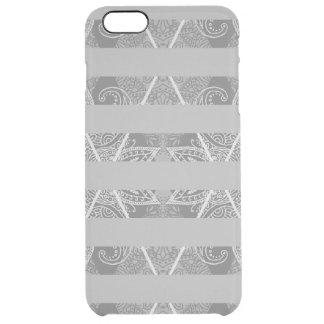 Cinza Embellished Argyle listrado Capa Para iPhone 6 Plus Transparente