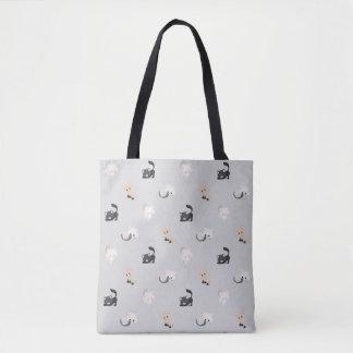 Cinza preto adorável   do teste padrão   dos gatos bolsas tote