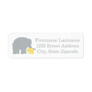 Cinzas amarelas dos elefantes das etiquetas de