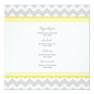 Cinzas Chevron do amarelo do menu do casamento Convite Quadrado 13.35 X 13.35cm