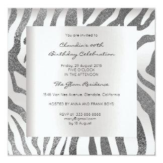 Cinzas de prata de pele animal do safari da zebra convite quadrado 13.35 x 13.35cm