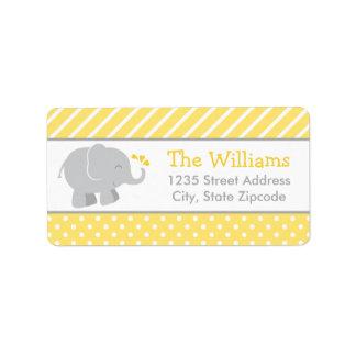 Cinzas do amarelo do elefante das etiquetas de