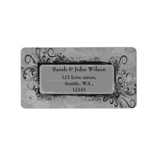 cinzas do casamento vintage, etiqueta de endereço