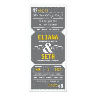 Cinzas e amarelo do convite do bilhete de teatro