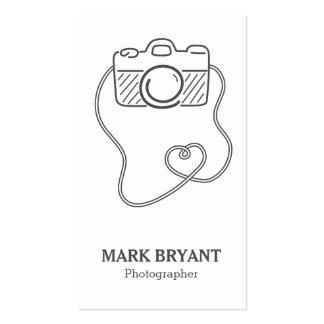 Cinzas e branco, Doodle da câmera, fotógrafo Cartão De Visita