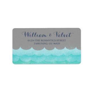 Cinzas em etiquetas de casamento náuticas do mar
