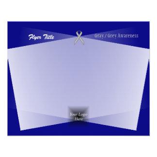 Cinzas/fita padrão cinzenta flyer 11.43 x 14.22cm