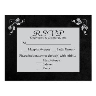Cinzas florais de RSVP & cartão do quadro do preto Cartão Postal