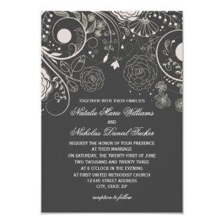Cinzas florais do teste padrão/branco - convite do