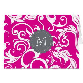 Cinzas florais tropicais do rosa do cartão de nota