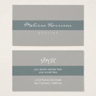 cinzas listradas cinzentas profissionais simples & cartão de visitas