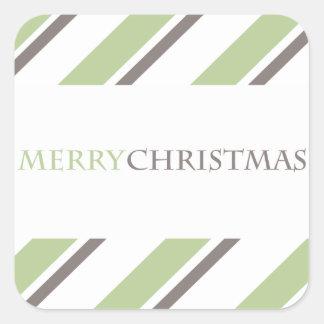 Cinzas listradas do verde da etiqueta do feriado adesivos quadrados