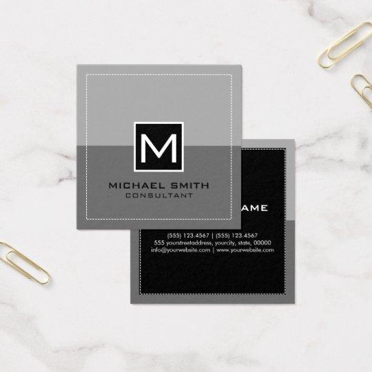 Cinzas modernas elegantes do monograma cartão de visitas quadrado