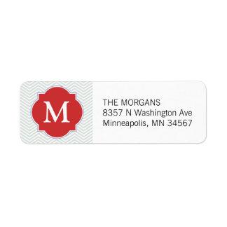 Cinzas & monograma moderno alaranjado do costume etiqueta endereço de retorno