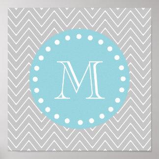 Cinzas & monograma moderno azul do costume de Chev Impressão