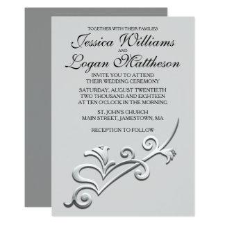 Cinzas, preto & convite minimalista de prata do