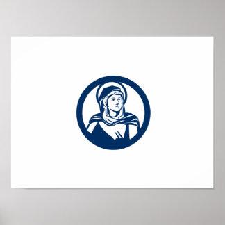 Círculo abençoado da Virgem Maria retro Poster
