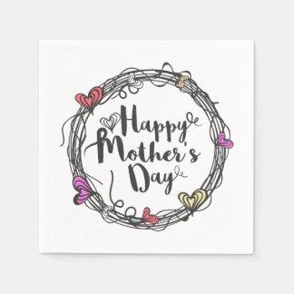 Círculo com o guardanapo feliz do dia das mães |