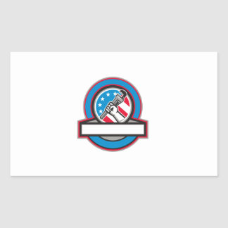 Círculo da bandeira dos EUA da chave de tubulação Adesivo Retangular