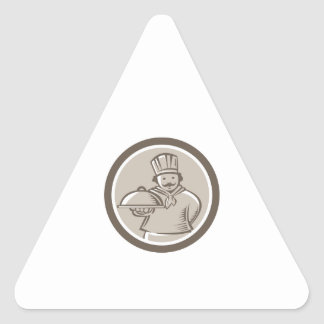 Círculo da bandeja da comida do serviço do adesivo triângulo