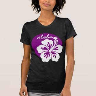 Círculo da flor do roxo aloha camisetas