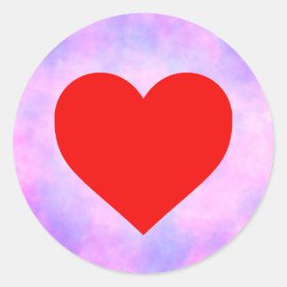 círculo da Laço-tintura com coração vermelho Adesivo Redondo