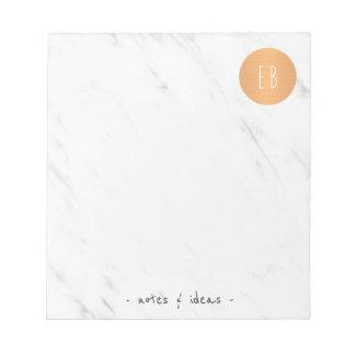 Círculo de cobre monogrammed de mármore branco bloco de notas