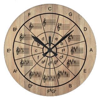 Círculo de músicos marrons da cor dos quintos relógio grande
