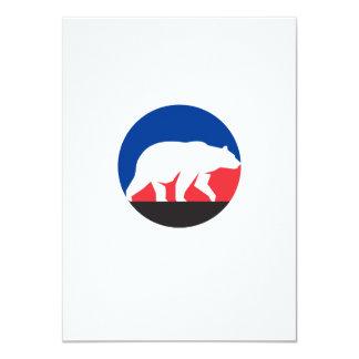 Círculo de passeio da silhueta do urso de urso convite 11.30 x 15.87cm
