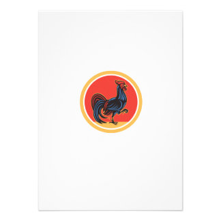 Círculo de passeio de marcha do galo da galinha convite personalizados