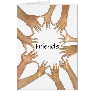 Círculo do cartão do apoio dos amigos