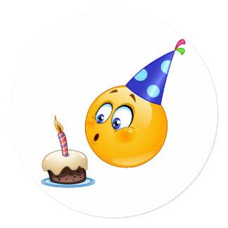 círculo do convite do emoji do aniversário