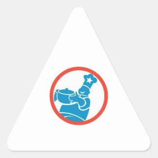 Círculo do pote da comida do serviço do cozinheiro adesivos em forma de triângulo
