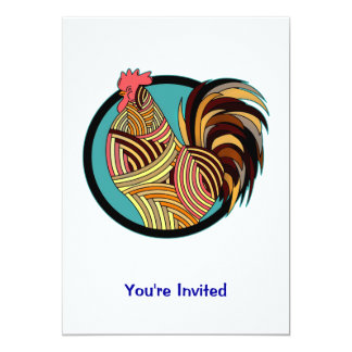 Círculo listrado da galinha do galo convite 12.7 x 17.78cm