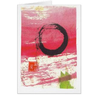 Círculo magenta do zen cartão comemorativo
