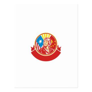 Círculo piloto da bandeira dos EUA China da guerra Cartão Postal