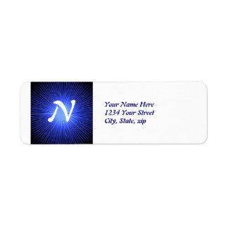 Círculos azuis do espírito etiqueta endereço de retorno