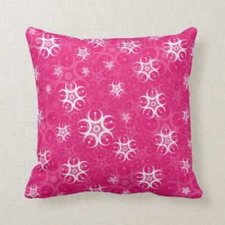 Círculos brancos cor-de-rosa da colheita almofada