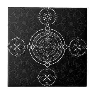 Círculos brancos pretos da colheita azulejo quadrado pequeno