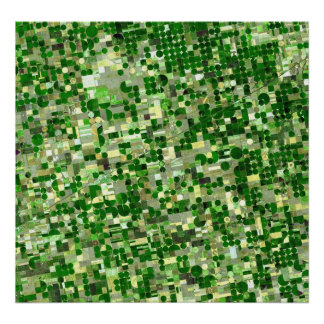 Círculos da colheita de Kansas - opinião de Sat Pôster