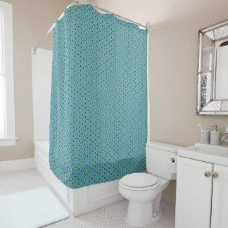 Círculos da corrente de margarida no verde de mar cortina para chuveiro