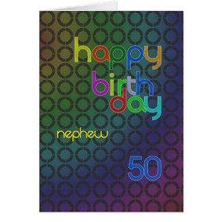 Círculos do aniversário para o sobrinho envelhecid cartao