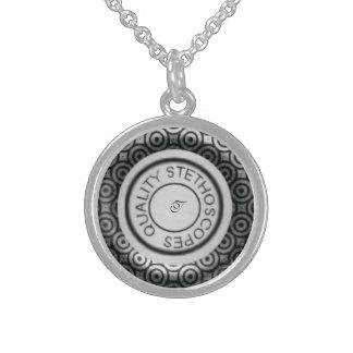 Círculos do preto do estetoscópio da qualidade colar com pendente redondo
