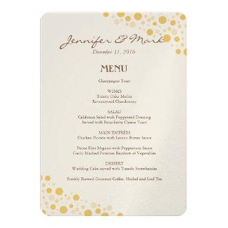 Círculos dos confetes do ouro do menu do casamento convite 12.7 x 17.78cm