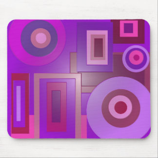 círculos e quadrados roxos mouse pad