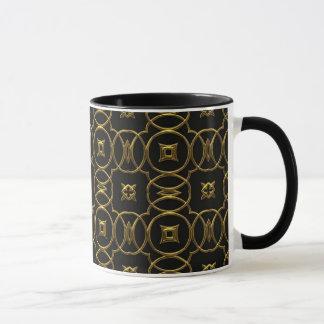Círculos elegantes do preto & do ouro & caneca de
