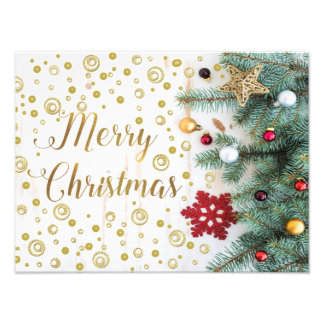 Círculos festivos do ouro da árvore do Feliz Natal Impressão De Foto