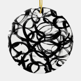 Círculos pretos da aguarela do Brushstroke Ornamento De Cerâmica