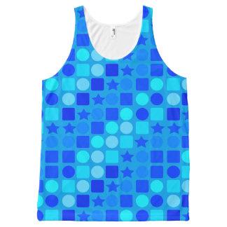 Círculos unisex & quadrados da estrela azul da regata com estampa completa